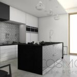 3d rendering loft modern kitchen near window