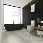 3d rendering luxury bathroom near window with bathtub